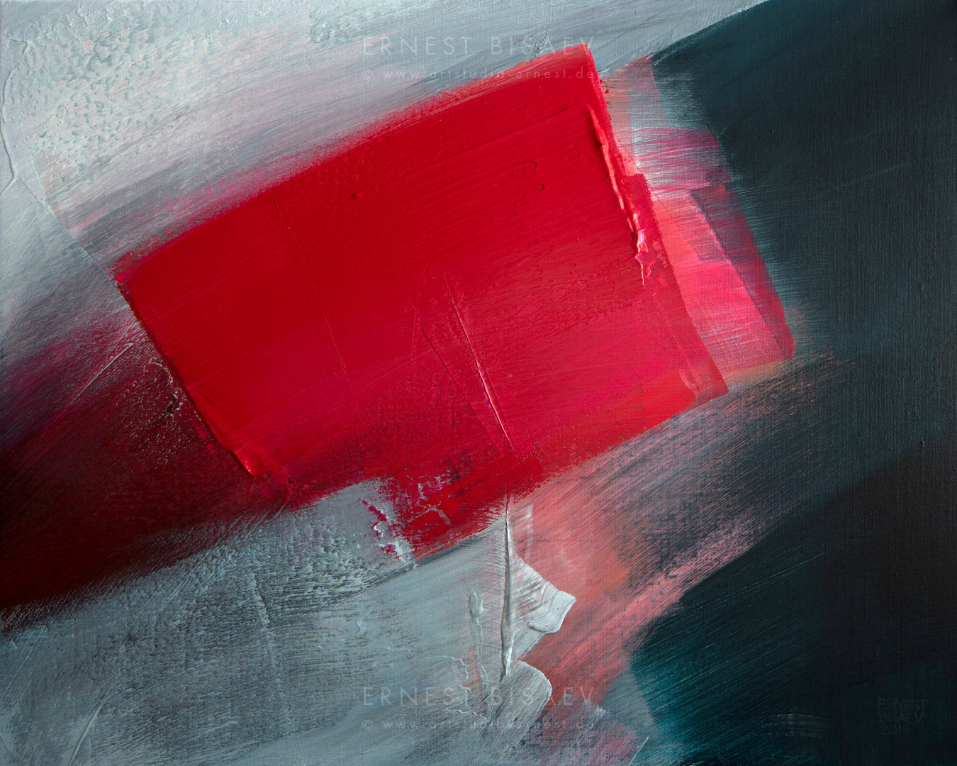 Gray and Red 231019, Acrylic on Canvas, 80x100cm, 2019 © Ernest Bisaev